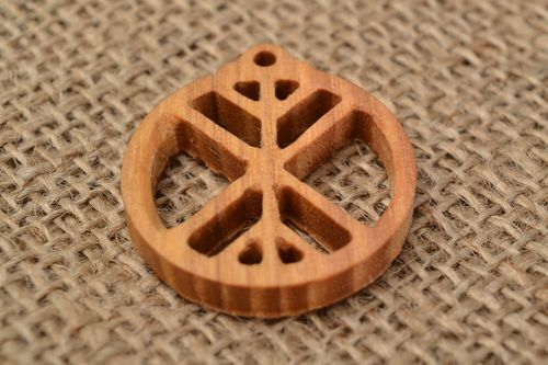 Handmade round pendant made of ash tree with symbol Life tree - MADEheart.com