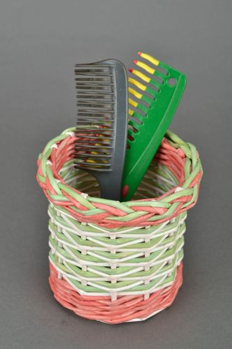 Handmade basket woven of paper rod for hair combs - MADEheart.com