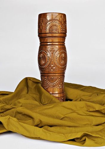 15 inches tall wooden handmade floor vase in tube shape 2,8 lb - MADEheart.com