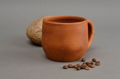 Beautiful brown handmade designer molded clay cup for tea or coffee 200 ml - MADEheart.com
