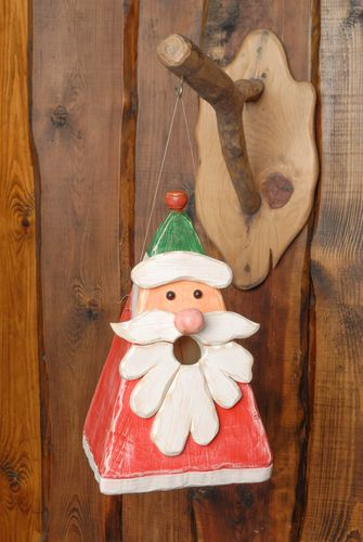 Designer wooden birdhouse in the shape of Santa Clause - MADEheart.com