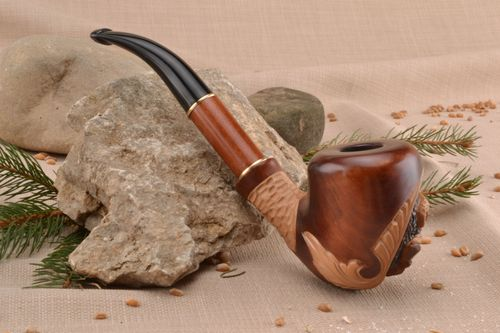 Wooden carved smoking pipe for decorative use only - MADEheart.com