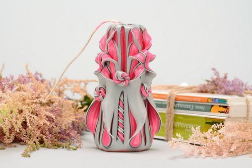Carved paraffin candle - MADEheart.com