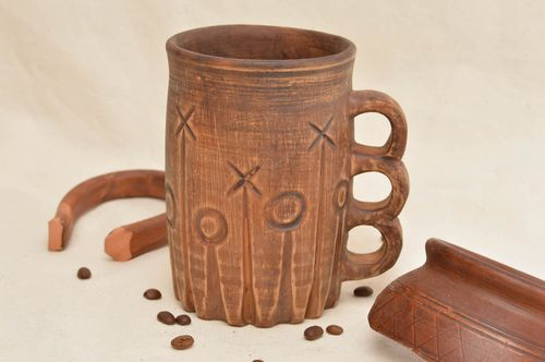 Clay cup with brass knuckles handle handmade ceramic mug eco friendly tableware - MADEheart.com