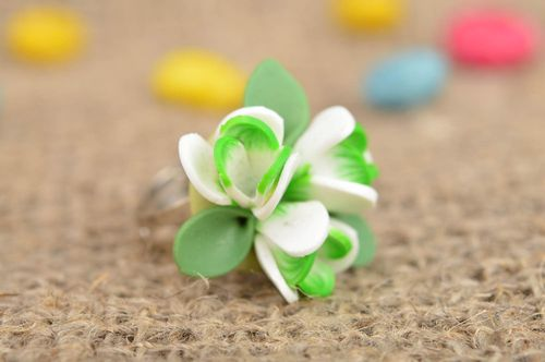 Handmade designer jewelry ring with volume polymer clay white and green flowers - MADEheart.com
