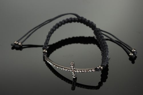 Handmade friendship bracelet is woven of cord with metal cross and rhinestones - MADEheart.com