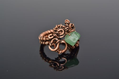 Handmade designer wire wrap copper ring with natural nephrite stone for women  - MADEheart.com