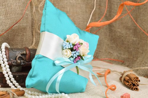 Handmade wedding rings bearer pillow sewn of blue satin with tender flowers  - MADEheart.com