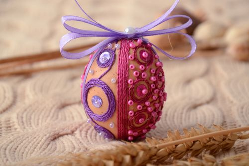 Interior pendant egg with beads - MADEheart.com