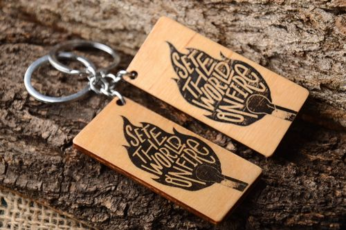 Handmade keychain designer souvenir wooden keychains for men set of 2 items - MADEheart.com