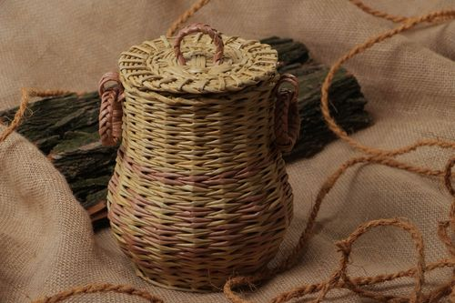 Handmade decorative pitcher woven of paper tubes for 3 l for interior decoration - MADEheart.com