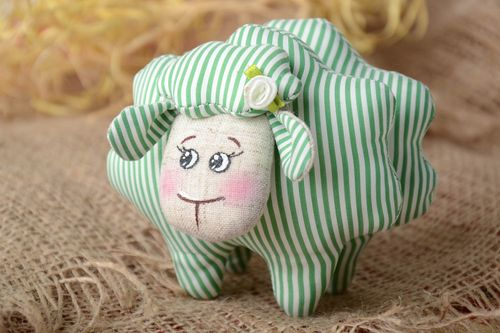 Handmade small soft toy sewn of white and green striped linen fabric cute lamb - MADEheart.com