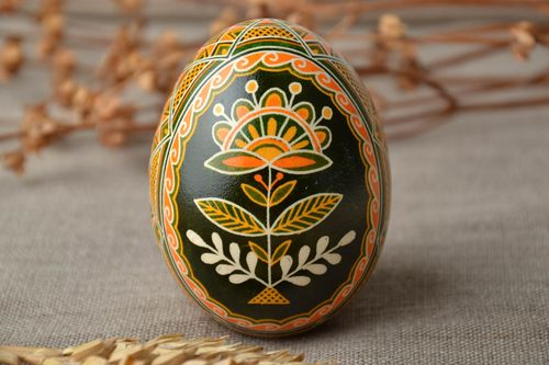 Handmade painted goose egg with traditional symbolics - MADEheart.com