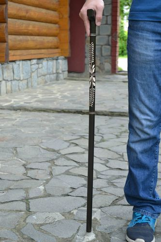 Handmade carved wooden walking stick beautiful black cane present for men  - MADEheart.com