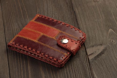Handmade designer mens wallet sewn of genuine leather of dark brown color - MADEheart.com