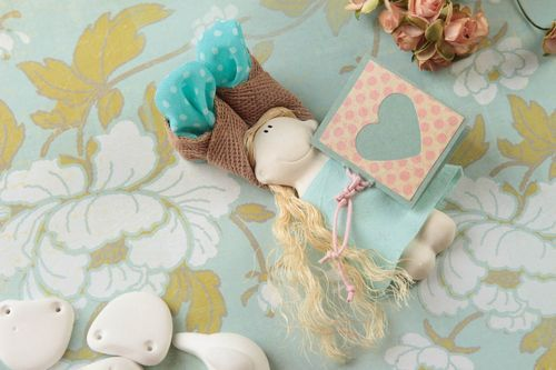 Handmade textile toy rag doll wall hanging nursery design decorative use only - MADEheart.com