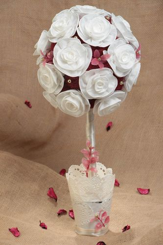 Handmade small designer topiary with white flowers and sisal with beads - MADEheart.com