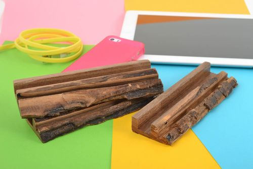 Stylish unusual handmade set of stands for tablets made of wood 3 pieces - MADEheart.com