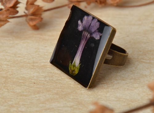 Handmade metal ring with natural flowers - MADEheart.com