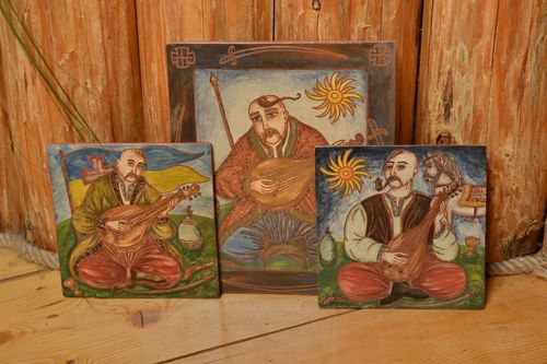 Set of 3 handmade ceramic facing tiles painted with engobes Bandura Players - MADEheart.com