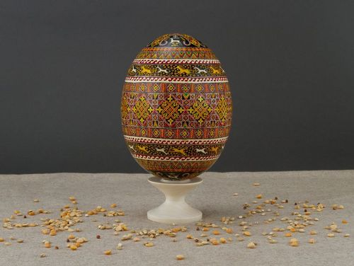 Ostrich Easter Egg with hand painting - MADEheart.com