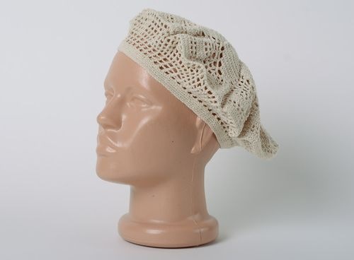 Tender lacy handmade beret hat crocheted of beige cotton threads for women - MADEheart.com