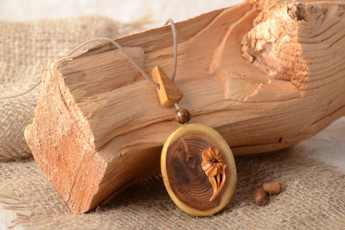 Large handmade varnished wooden neck pendant of oval shape with cord for women - MADEheart.com