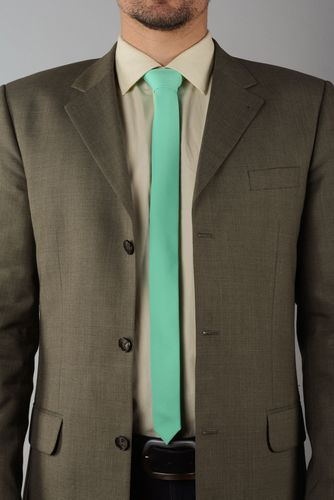 Stylish gabardine tie of mint color - MADEheart.com