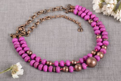 Handmade gemstone necklace woven bead necklace fashion accessories for girls - MADEheart.com