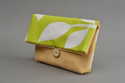 Stylish handmade beauty bag unusual faux suede beauty bag fashion accessories - MADEheart.com