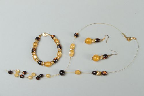 Unusual designer beaded jewelry set - MADEheart.com