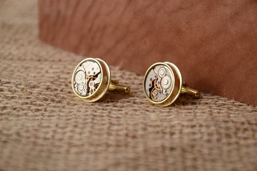 Handmade designer beautiful steampunk cufflinks with watch mechanism for men - MADEheart.com
