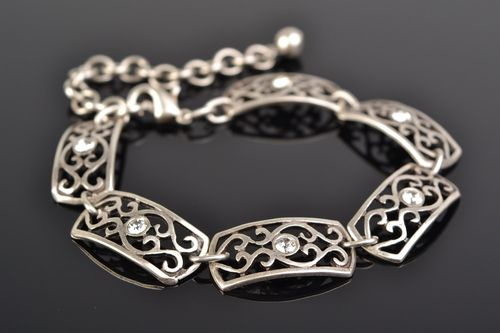 Handmade lacy wrist bracelet cast of metal in ethnic style for women - MADEheart.com