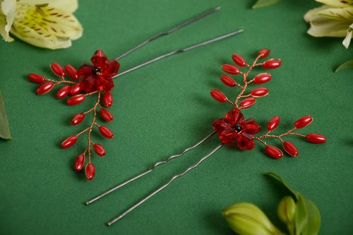Beautiful handmade designer hairpins set 2 pieces with beads Red - MADEheart.com