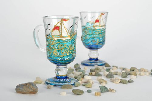 Coffee glasses with painting - MADEheart.com