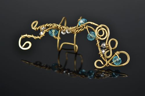 Wire wrap ear cuff with blue crystals - MADEheart.com