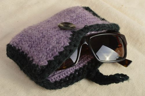 Beautiful unusual homemade designer crochet eyeglasses case  - MADEheart.com
