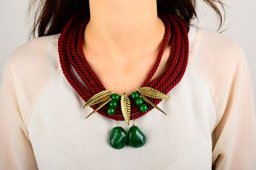 Handmade textile necklace unusual elegant necklace evening accessory for women - MADEheart.com
