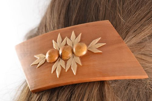 Unusual jewelry and hair accessories Beautiful homemade wooden eco hair clip for girls - MADEheart.com