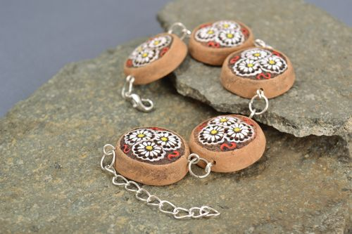 Painted ceramic ethnic womens wrist bracelet of adjustable size handmade - MADEheart.com
