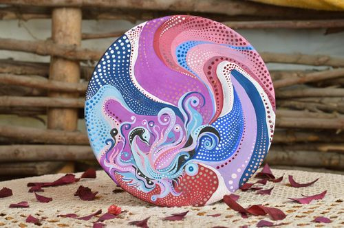 Ceramic plate painted with acrylics decorative handmade kitchen accessory - MADEheart.com