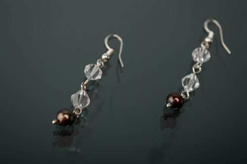 Silver earrings with pearl and crystal - MADEheart.com