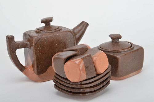 Handmade ceramic  coffee set 4 cups 55x55x50 sugar bowl 4 saucers coffee pot  - MADEheart.com