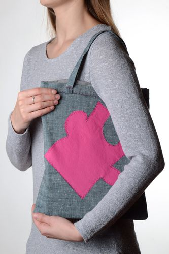 Handmade grey ladies shoulder bag made of cloth with applique work in the form of a puzzle - MADEheart.com