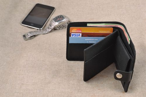 Black leather wallet mens accessories - MADEheart.com