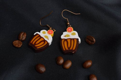 Handmade designer earrings accessories made of polymer clay summer jewelry - MADEheart.com