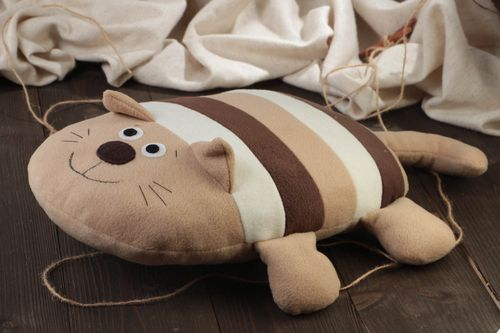 Beautiful handmade beige striped soft pillow pet cat for children - MADEheart.com