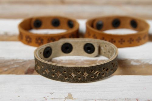 Unusual handmade bracelet leather goods leather bracelet designs small gifts - MADEheart.com