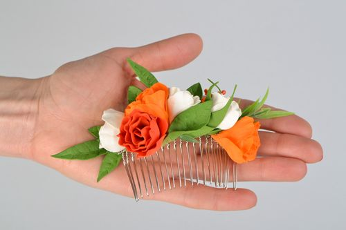 Handmade hair comb designer hair comb with flowers wedding accessory gift ideas - MADEheart.com