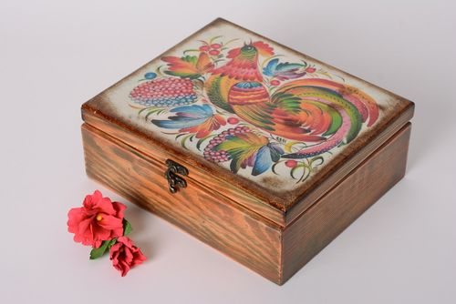 Handmade decoupage rectangular wooden jewelry box and hair clip set - MADEheart.com